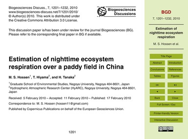 Estimation of Nighttime Ecosystem Respir... by Hossen, M. S.