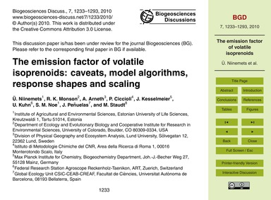The Emission Factor of Volatile Isopreno... by Niinemets, Ü.