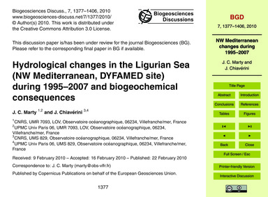 Hydrological Changes in the Ligurian Sea... by Marty, J. C.
