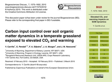 Carbon Input Control Over Soil Organic M... by Carrillo, Y.