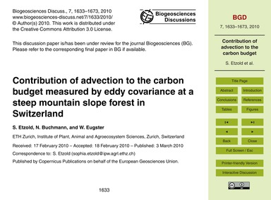 Contribution of Advection to the Carbon ... by Etzold, S.
