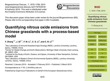 Quantifying Nitrous Oxide Emissions from... by Zhang, F.