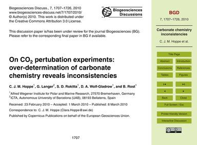 On Co2 Pertubation Experiments: Over-det... by Hoppe, C. J. M.