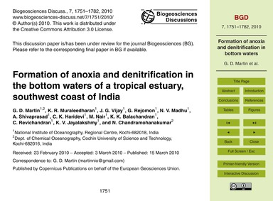 Formation of Anoxia and Denitrification ... by Martin, G. D.