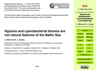 Hypoxia and Cyanobacterial Blooms Are No... by Zillén, L.