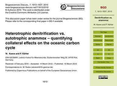 Heterotrophic Denitrification Vs. Autotr... by Koeve, W.