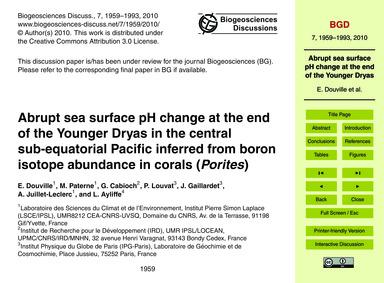 Abrupt Sea Surface Ph Change at the End ... by Douville, E.