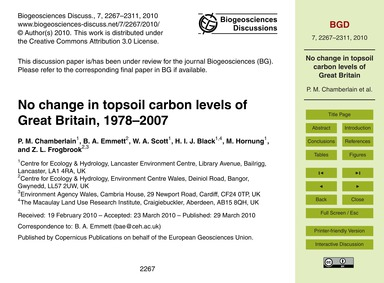 No Change in Topsoil Carbon Levels of Gr... by Chamberlain, P. M.