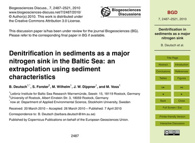 Denitrification in Sediments as a Major ... by Deutsch, B.
