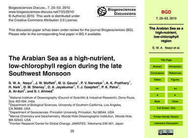 The Arabian Sea as a High-nutrient, Low-... by Naqvi, S. W. A.