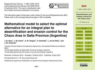 Mathematical Model to Select the Optimal... by Grau, J. B.