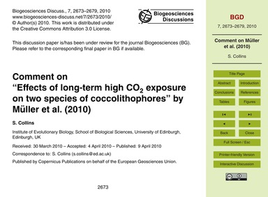 Comment on Effects of Long-term High Co2... by Collins, S.