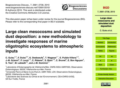 Large Clean Mesocosms and Simulated Dust... by Guieu, C.