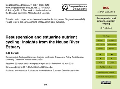 Resuspension and Estuarine Nutrient Cycl... by Corbett, D. R.