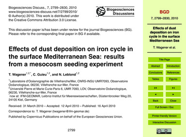 Effects of Dust Deposition on Iron Cycle... by Wagener, T.