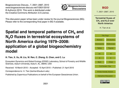 Spatial and Temporal Patterns of Ch4 and... by Tian, H.