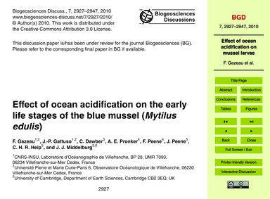Effect of Ocean Acidification on the Ear... by Gazeau, F.