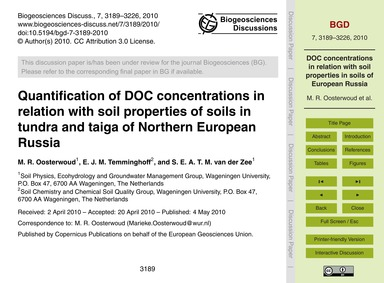 Quantification of Doc Concentrations in ... by Oosterwoud, M. R.