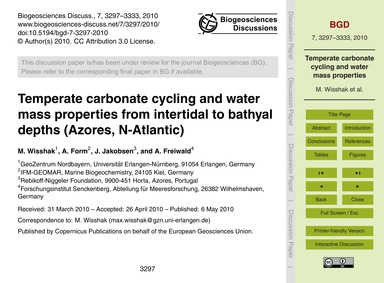 Temperate Carbonate Cycling and Water Ma... by Wisshak, M.