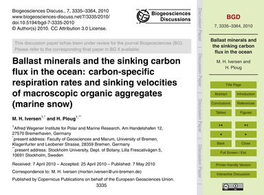 Ballast Minerals and the Sinking Carbon ... by Iversen, M. H.