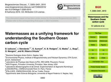 Watermasses as a Unifying Framework for ... by Iudicone, D.