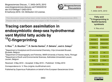 Tracing Carbon Assimilation in Endosymbi... by Riou, V.