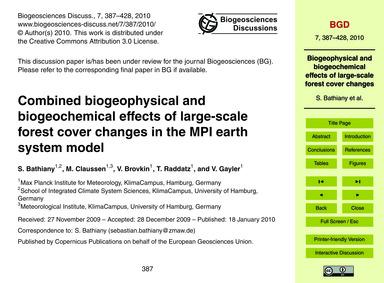 Combined Biogeophysical and Biogeochemic... by Bathiany, S.