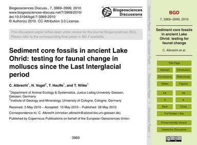 Sediment Core Fossils in Ancient Lake Oh... by Albrecht, C.