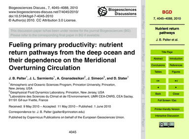 Fueling Primary Productivity: Nutrient R... by Palter, J. B.