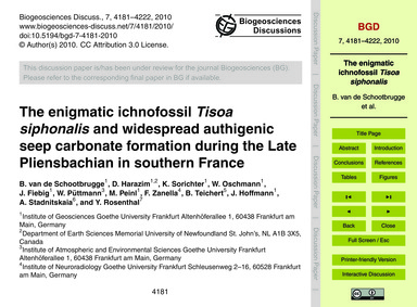 The Enigmatic Ichnofossil Tisoa Siphonal... by Van De Schootbrugge, B.
