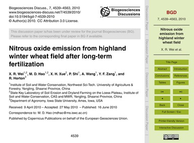 Nitrous Oxide Emission from Highland Win... by Wei, X. R.