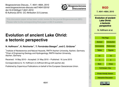 Evolution of Ancient Lake Ohrid: a Tecto... by Hoffmann, N.