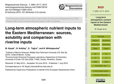 Long-term Atmospheric Nutrient Inputs to... by Koçak, M.