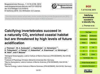 Calcifying Invertebrates Succeed in a Na... by Thomsen, J.