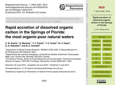 Rapid Accretion of Dissolved Organic Car... by Duarte, C. M.