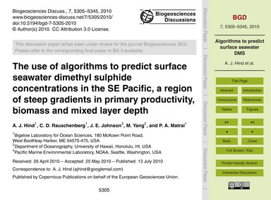 The Use of Algorithms to Predict Surface... by Hind, A. J.