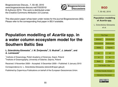 Population Modelling of Acartia Spp. in ... by Dzierzbicka-glowacka, L.
