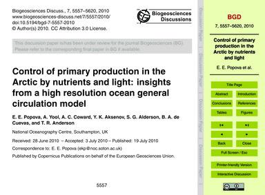 Control of Primary Production in the Arc... by Popova, E. E.