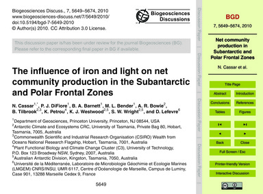 The Influence of Iron and Light on Net C... by Cassar, N.