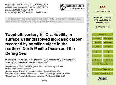 Twentieth Century Δ13C Variability in Su... by Williams, B.