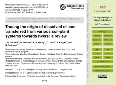 Tracing the Origin of Dissolved Silicon ... by Cornelis, J.-t.