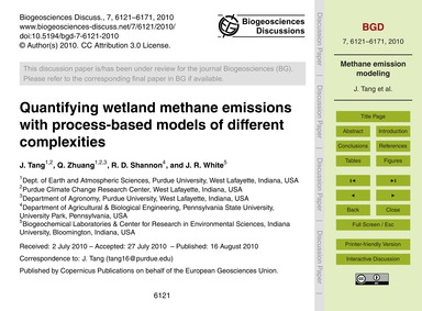 Quantifying Wetland Methane Emissions wi... by Tang, J.
