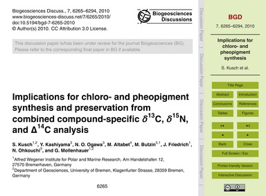 Implications for Chloro- and Pheopigment... by Kusch, S.