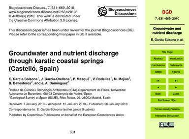 Groundwater and Nutrient Discharge Throu... by Garcia-solsona, E.