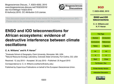 Enso and Iod Teleconnections for African... by Williams, C. A.