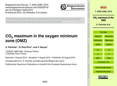 Co2 Maximum in the Oxygen Minimum Zone (... by Paulmier, A.
