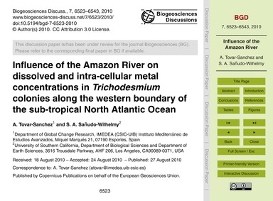 Influence of the Amazon River on Dissolv... by Tovar-sanchez, A.