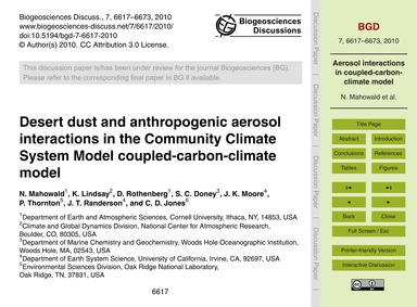 Desert Dust and Anthropogenic Aerosol In... by Mahowald, N.