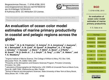 An Evaluation of Ocean Color Model Estim... by Saba, V. S.