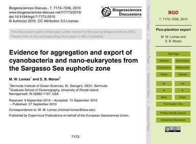 Evidence for Aggregation and Export of C... by Lomas, M. W.